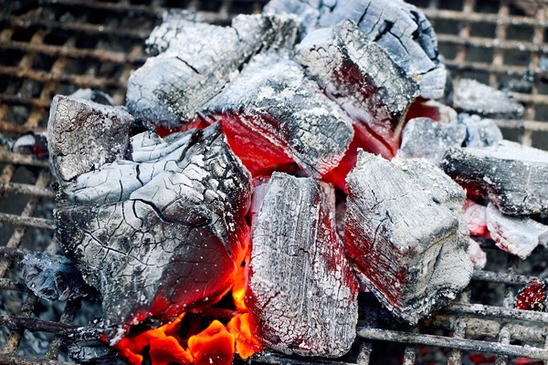 white hot coals for caveman cooking