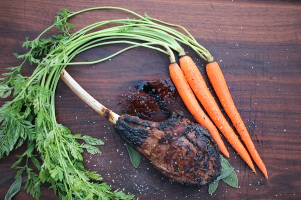 Caveman veal chop with carrots