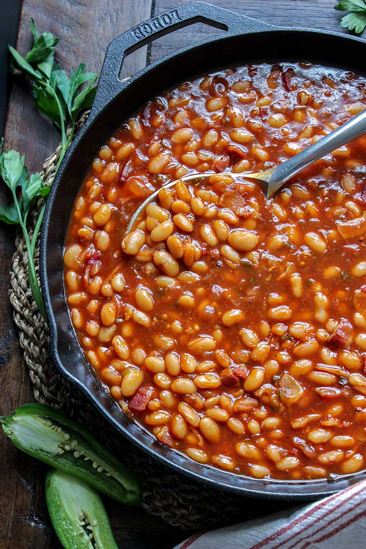 Finished Head Country Baked Beans - Beans and parsley