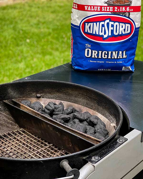 Setting up your charcoal grill for two-zone heat.
