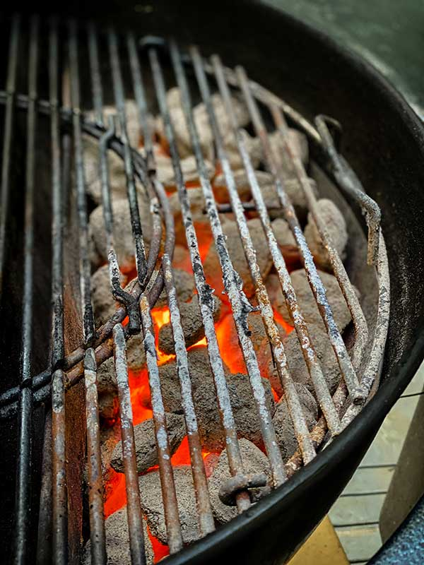 Kingsford briquettes in two-zone heat