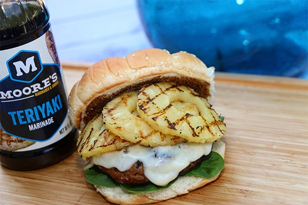 teriyaki turkey burger topped with grilled pineapple with moose's marinade