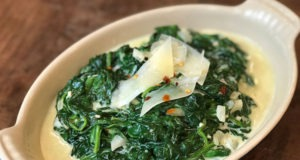 Cheesy creamed spinach finished and ready to serve