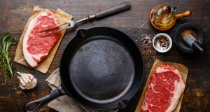 Cast iron skillet, steak and seasonings for Translating Grill Favorites for Indoor Cooking