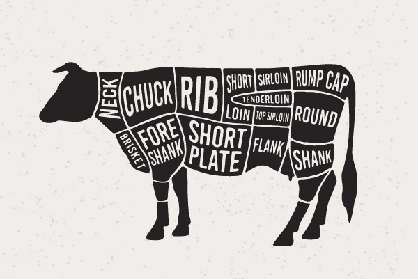 beef cut illustration black and white
