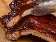closeup of barbecue ribs