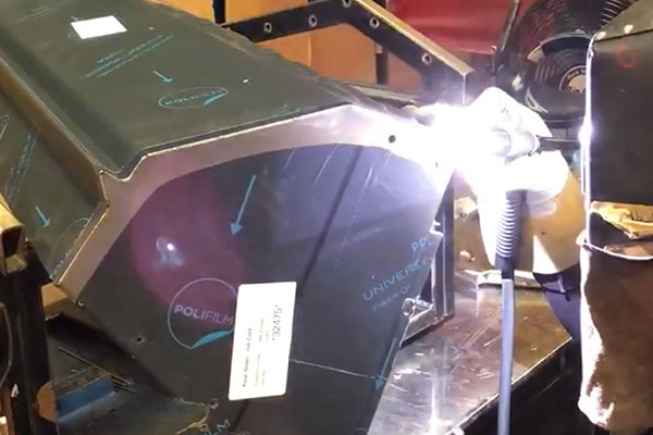 seams being welded on grill parts at lynx grills factory