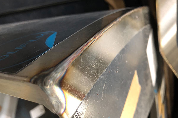 raw seam after welding at lynx grills factory