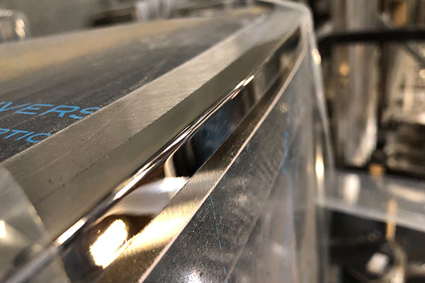 welded seam after being polished at lynx grills factory
