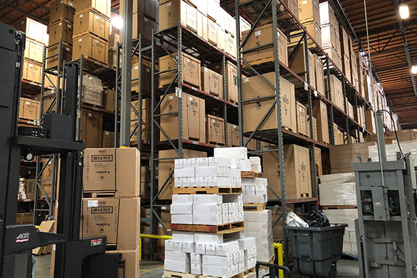 warehouse will boxed grills awaiting shipment