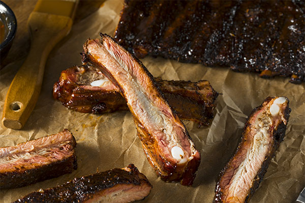 closeup of barbecue St. Louis-style ribs