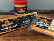 Dearborn Sausage and Mustard on cutting board