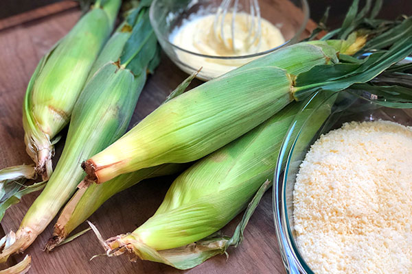 step 1 of grilled mexican street corn recipe