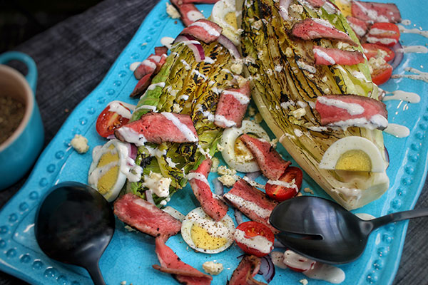 grilled romaine and steak recipe complete