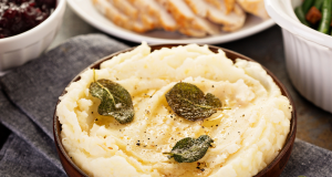 Sage brown butter recipe on mashed potatoes