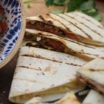 Completed, grilled steak quesadillas recipe