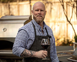 Matt Eads, grilling with wine