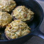 Ready to serve crab stuffed portobello mushroom caps