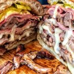 Cuban sandwich, sliced and ready to eat