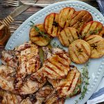 Glazed Grilled Pork Chops with Grilled Apples ready to serve
