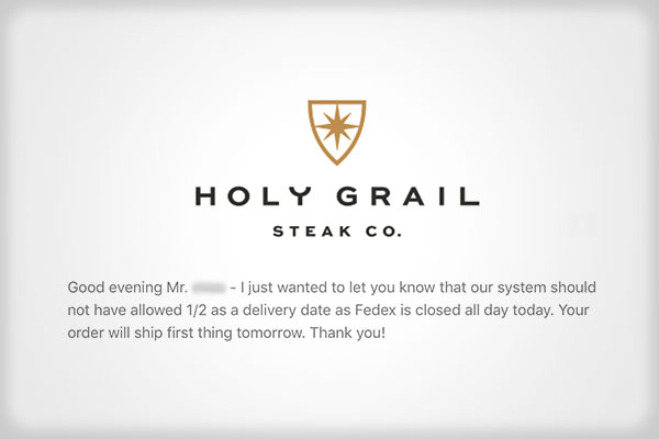 holy grill steak co. message