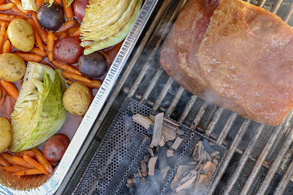 grilling Corned Beef with Beer Braised Cabbage