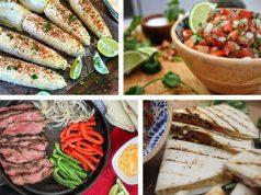 Easy Cinco de Mayo Recipes featuring Mexican Street Corn, pico de gallo, steak fajitas, and quesadillas