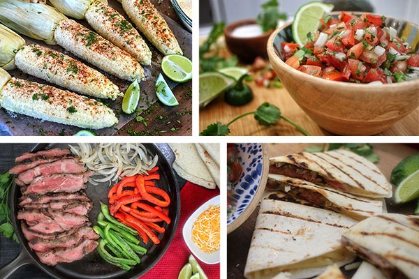 Easy Cinco de Mayo Recipes featuring Mexican Street Corn, pico de gallo, steak fajitas, and quesadillas