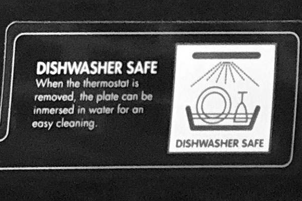 Safety label on the Delonghi Perfecto Indoor Grill