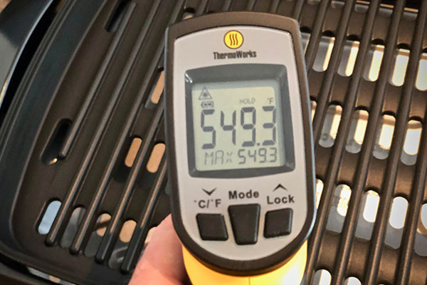 Measuring the surface temperature on a Delonghi Perfecto Indoor Grill