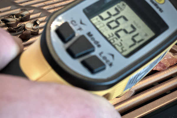 Checking grill temperature on the Gotham Electric Grill with infrared thermometer