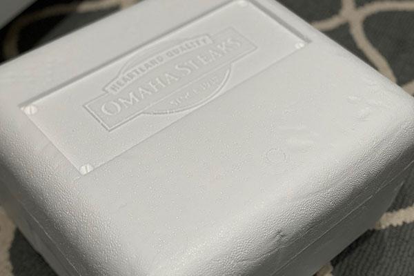 Styrofoam case Omaha Steaks uses for shipping