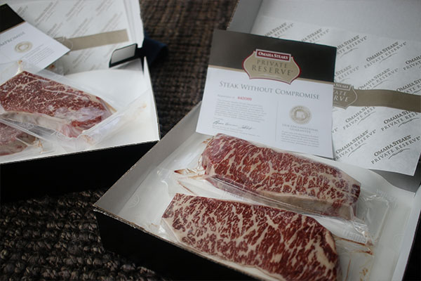 Wagyu beef from Omaha Steaks' Private Reserve