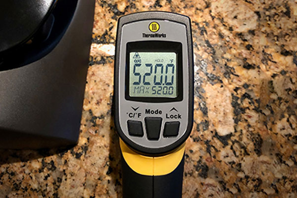 Zojirushi Electric Indoor Grill high temp, as measured by an infrared thermometer