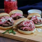 Leftover Lamb Recipe, lamb garnished with pickled red onions