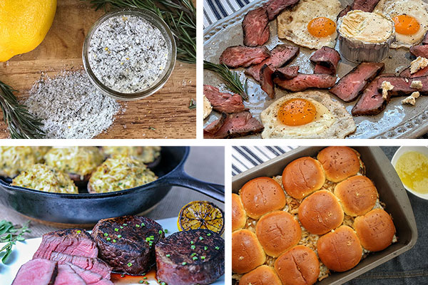 Ideas for Mother's Day - rosemary salt, eggs and steak with sage butter, sous vide filet mignon and Philly cheesesteak sliders
