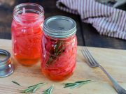 Pickled Red Onions, with and without rosemary, jarred