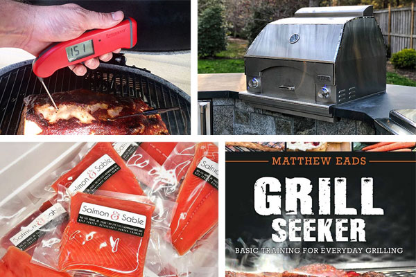 Father's Day Gift Guide featuring Lynx Napoli Oven, GrillSeeker cookbook, Mk4 Thermapen, and Salmon & Sable
