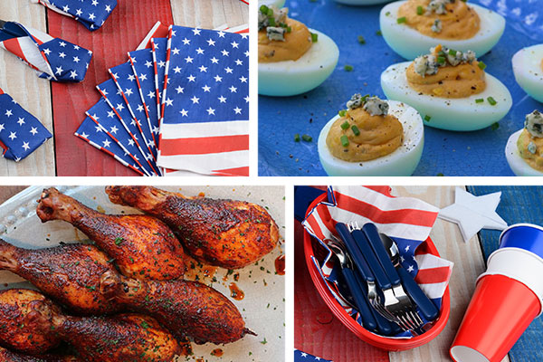Buffalo Blue Cheese Deviled Eggs and Smoked Honey Glazed Chicken Drumsticks are on the menu for this Fourth of July party