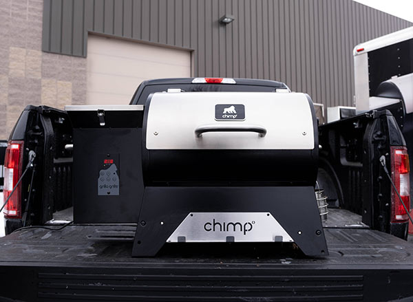 Chimp Tailgater Wood Pellet Grill on a tailgate