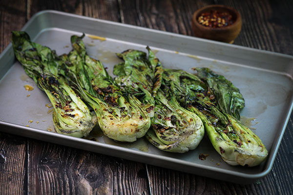 Spicy Grilled Baby Bok Choy ready to serve