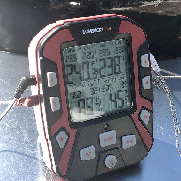 Maverick XR50 Remote BBQ & Smoker Thermometer monitoring temperatures on multiple areas of a cook