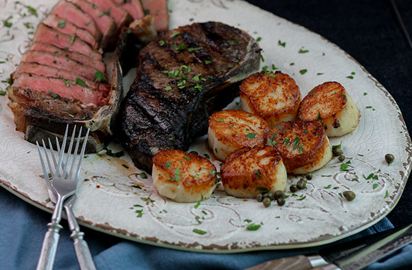 surf and turf with seared sea scallops