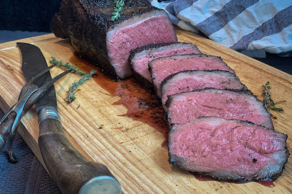 Sous vide steak sliced and ready to serve
