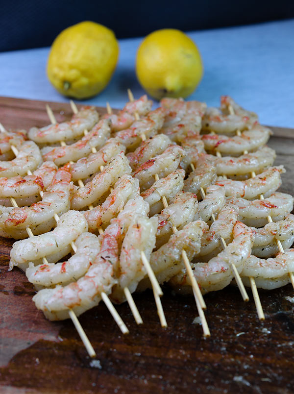 Shrimp skewered and ready to grill