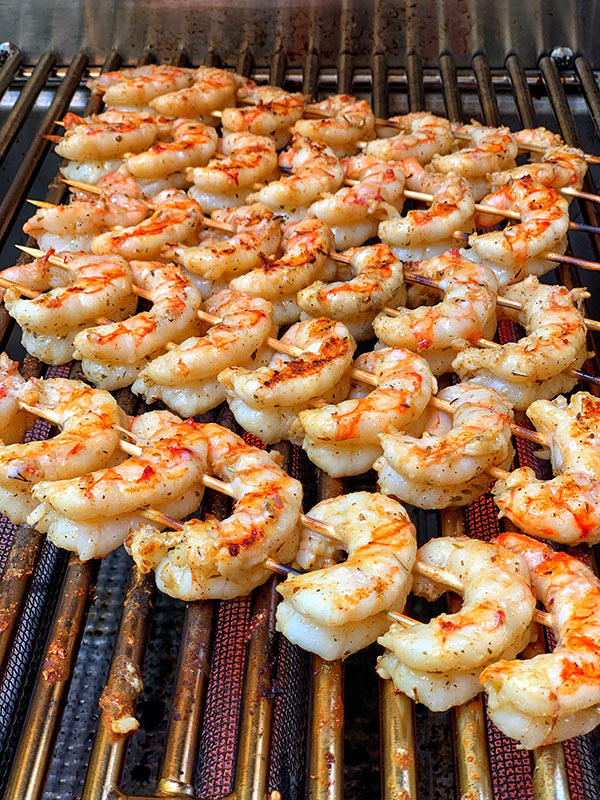 Shrimp on the grill for Grilled Argentinian Red Shrimp Recipe