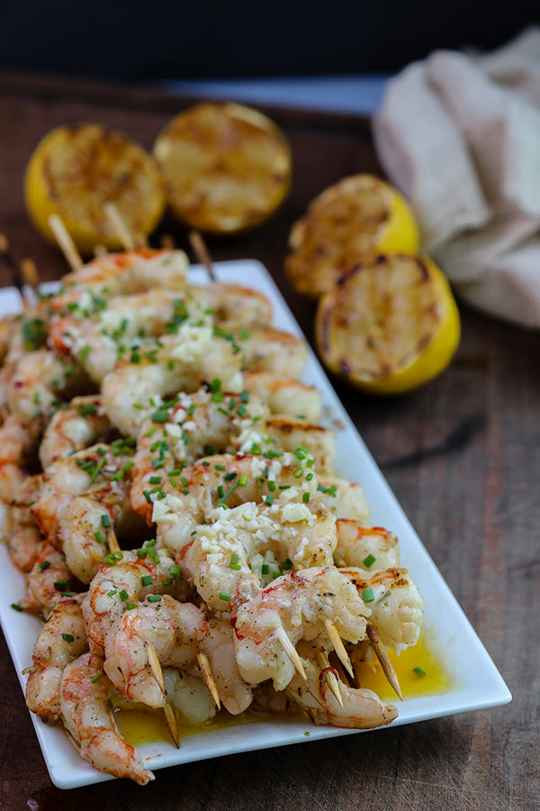Grilled Argentinian Red Shrimp ready to serve