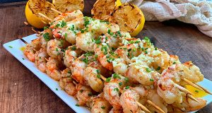 Grilled Argentinian Red Shrimp Recipe prepared and ready to serve
