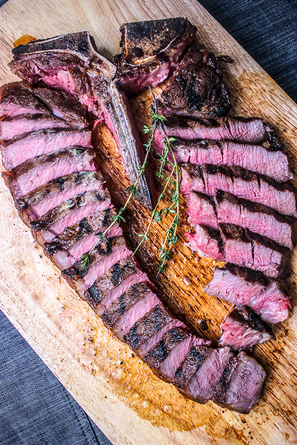 T-Bone steak sliced and ready for serving