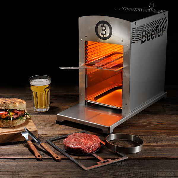 Beefer Infared Grill with beer and burger